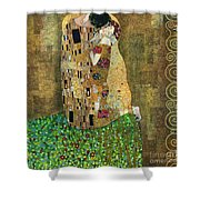 My Acrylic Painting As An Interpretation Of The Famous Artwork Of Gustav Klimt The Kiss - Yakubovich Shower Curtain