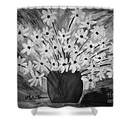 My Daisies Black And White Version Shower Curtain
