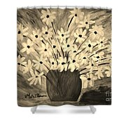My Daisies Sepia Version Shower Curtain