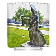 My Favorite View Of Metal Sculpture In Front Of Maryhill Museum Of Art-wa Shower Curtain