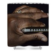 My Afro Blues Harmonica - Solo Blues Shower Curtain