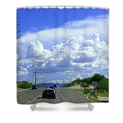My House Over The Hill Under The Clouds Shower Curtain