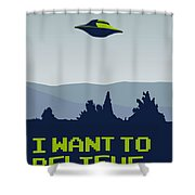 My I Want To Believe Minimal Poster Shower Curtain