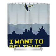 My I Want To Believe Minimal Poster- Xwing Shower Curtain