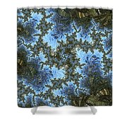 My Maui Fractal Art Abstract Palms And Blue Sky And Waters Shower Curtain