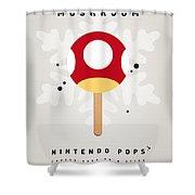My Nintendo Ice Pop - Mushroom Shower Curtain by Chungkong Art