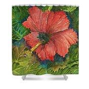 My Quiet Place-hibuscus Flower Shower Curtain