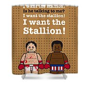My Rocky Lego Dialogue Poster Shower Curtain