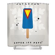 My Superhero Ice Pop - Superman Shower Curtain by Chungkong Art