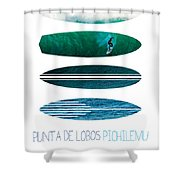 My Surfspots Poster-3-punta De Lobos-chile Shower Curtain by Chungkong Art