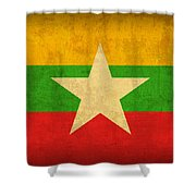 Myanmar Burma Flag Vintage Distressed Finish Shower Curtain