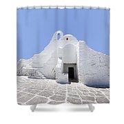 Mykonian Church Shower Curtain