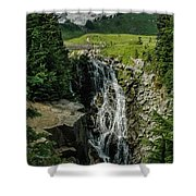 Myrtle Falls In Front Of Mt. Rainier Shower Curtain