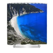 Myrtos Beach Kefalonia Greece  Shower Curtain