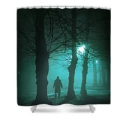 Mysterious Man In A Foggy Forest Shower Curtain