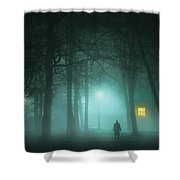 Mysterious Man In Fog With House And Window Light Shower Curtain