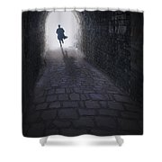 Mysterious Man Running Out Of A Tunnel Shower Curtain