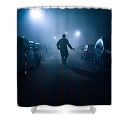Mysterious Man With Pistol At Night In Fog Shower Curtain