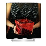 Mysterious Woman With Red Box Shower Curtain