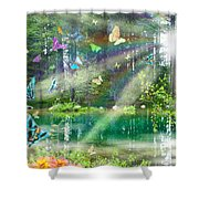 Mystic Foggy Forest Shower Curtain by Alixandra Mullins