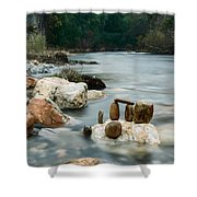 Mystic River I Shower Curtain