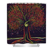 Mystic Spiral Tree Red By Jrr Shower Curtain