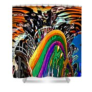 Mystic Stripers Tiger Emblem Abstract Shower Curtain