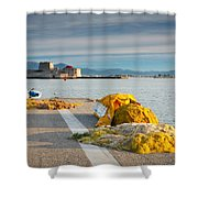 Nafplio Fishing Harbour Shower Curtain