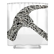 Nails Forming Shape Of Hammer Shower Curtain