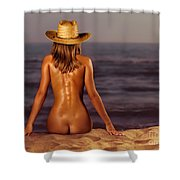Naked Woman Sitting At The Beach On Sand Shower Curtain