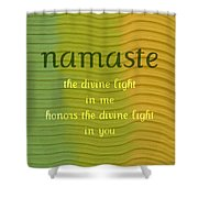Namaste Shower Curtain by Michelle Calkins