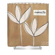 Namaste White Flowers Shower Curtain