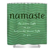Namaste With Blue Waves Shower Curtain