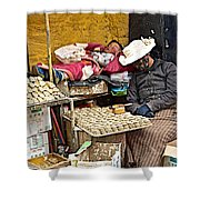 Nap Time For Child And Street Shopkeeper In Lhasa-tibet   Shower Curtain