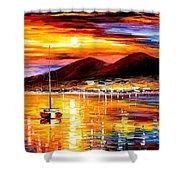 Naples-sunset Above Vesuvius - Palette Knife Oil Painting On Canvas By Leonid Afremov Shower Curtain