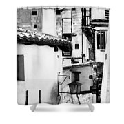 Narrow Streets Of Albarracin  Black And White Shower Curtain