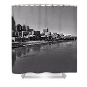 Nashville Skyline In Black And White At Day Shower Curtain