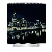 Nashville Skyline Reflected At Night Shower Curtain