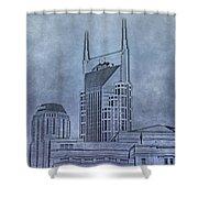 Nashville Skyline Sketch Shower Curtain