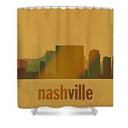 Nashville Tennessee Skyline Watercolor On Parchment Shower Curtain