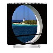 Nassau Lighthouse Porthole View Shower Curtain