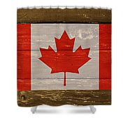 Canada National Flag On Wood Shower Curtain