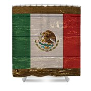 Mexico National Flag On Wood Shower Curtain