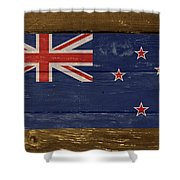 New Zealand National Flag On Wood Shower Curtain