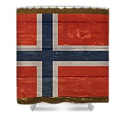 Norway National Flag On Wood Shower Curtain