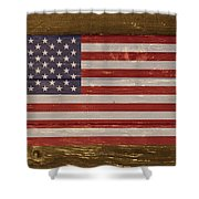 United States Of America National Flag On Wood Shower Curtain