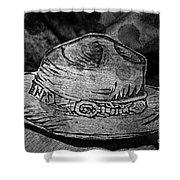 National Park Service Ranger Hat Black And White Shower Curtain