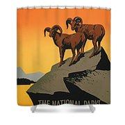 National Parks Preserve Wildlife Vintage Poster 1938 Shower Curtain