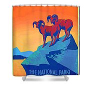 National Parks Wild Life Poster Shower Curtain