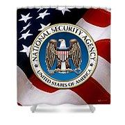 National Security Agency - N S A Emblem Emblem Over American Flag Shower Curtain
